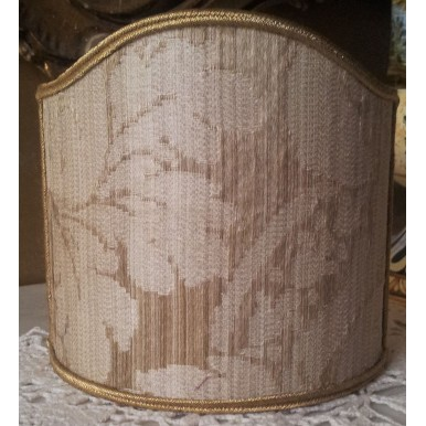 Clip-On Mini Lampshade Rubelli Ruzante Mother of Pearl Silk Damask Fabric Shield Shade