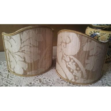 Clip-On Mini Lampshade Rubelli Ruzante Mother of Pearl Silk Damask Fabric Shield Shade