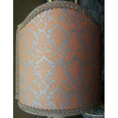 Abat Jour Tissu Imprimé à la Main Mariano Fortuny Delfino Orange et Or