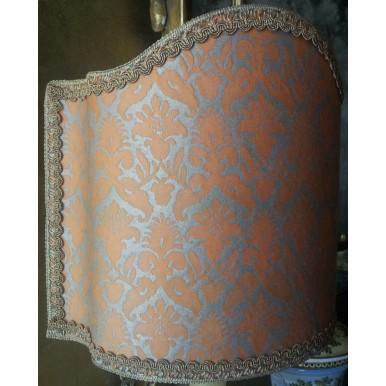 Venetian Lamp Shade Fortuny Fabric Delfino Melon & Silvery Gold Half Lampshade