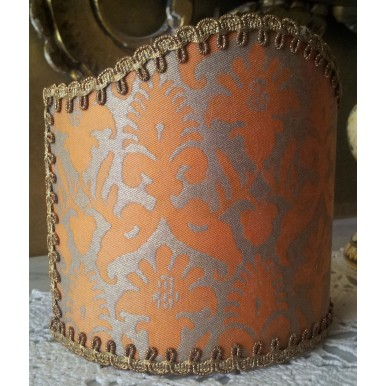 Wall Sconce Clip-On Shield Shade Fortuny Fabric Delfino Melon & Silvery Gold Pattern Half Lamp Shade