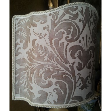 Venetian Lamp Shade Fortuny Fabric Pearl Grey & Antique White Lucrezia Pattern