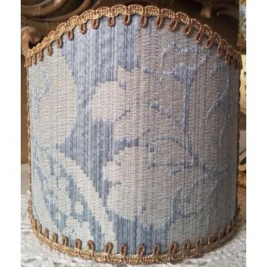 Clip-On Mini Lampshade Rubelli Ruzante Pale Blue Silk Damask Fabric Shield Shade