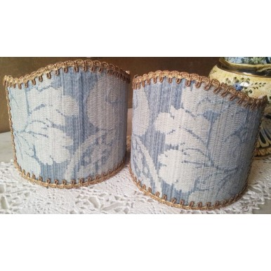 Clip-On Mini Lampshade Rubelli Ruzante Pale Blue Silk Damask Fabric Shield Shade