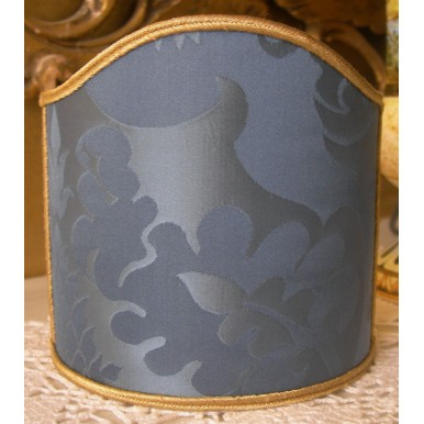 Clip-On Mini Lampshade Rubelli Fabric Blue Balthasar Pure Silk Damask Shield Shade