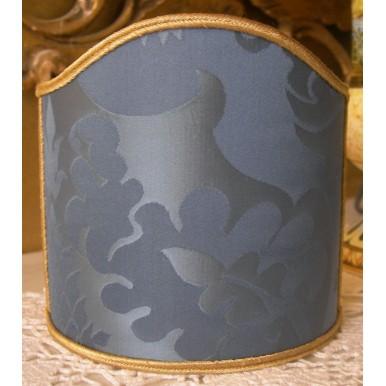 Clip-On Mini Lampshade Rubelli Fabric Blue Balthasar Pure Silk Damask Shield Shade