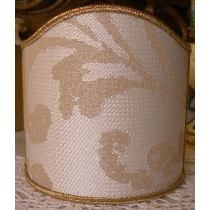 Clip-On Shield Shade Rubelli Fabric Maurilia Ivory Crinkled Damask Mini Lampshade