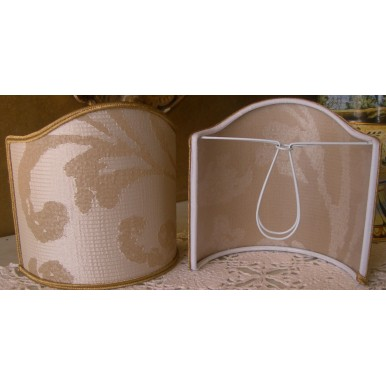 Clip-On Shield Shade Rubelli Fabric Maurilia Ivory Crinkled Damask Mini Lampshade