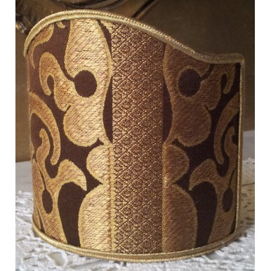 Wall Sconce Clip-On Shield Shade Brown and Gold Silk Lampas Rubelli Fabric Belisario Pattern Mini Lampshade
