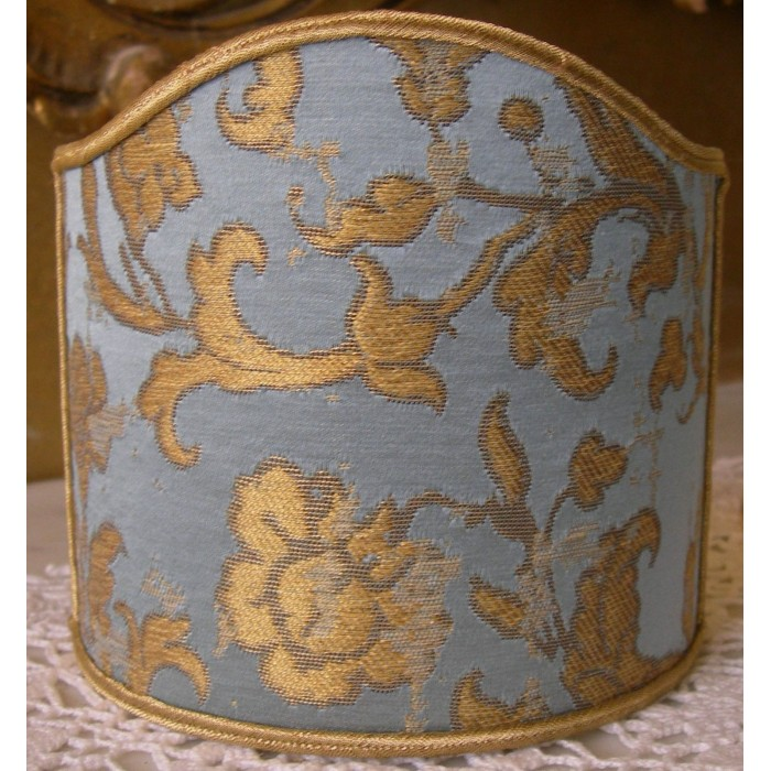 Wall Sconce Clip On Shield Shade in Sky Blue and Gold Silk Jacquard Rubelli Les Indes Galantes Pattern