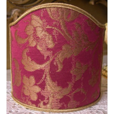 Abat Jour à Pince Fait Main en Tissu Jacquard de Soie Rubelli Les Indes Galantes Rouge Cardinal et Or