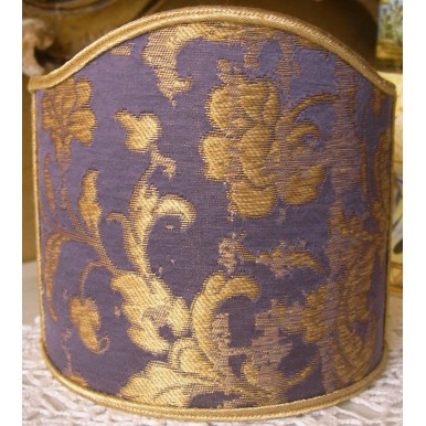 Wall Sconce Clip On Shield Shade in Blue Purple and Gold Silk Jacquard Rubelli Les Indes Galantes Pattern