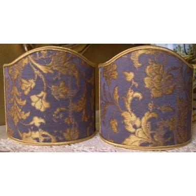 Ventolina per Applique in Tessuto Jacquard di Seta Rubelli Les Indes Galantes Viola Copiativo e Oro