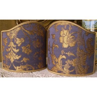 Abat Jour à Pince Fait Main en Tissu Jacquard de Soie Rubelli Les Indes Galantes Bleu Violet et Or