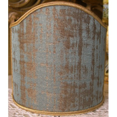 Clip On Shield Shade Aqua Blue and Gold Rubelli Venier Jacquard Fabric Mini Lampshade