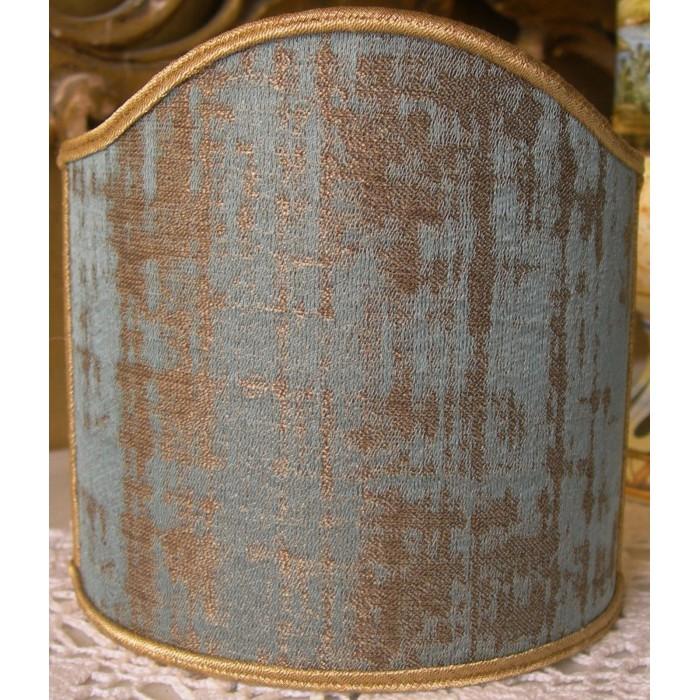 Clip On Shield Shade Aqua Blue and Gold Rubelli Venier Jacquard Fabric Mini Lampshade