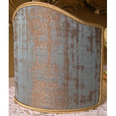 Ventolina per Applique in Tessuto Jacquard Rubelli Venier Azzurro e Oro