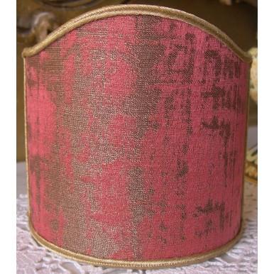 Abat Jour à Pince en Tissu Jacquard Rubelli Rose Framboise et Or