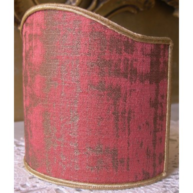 Clip On Shield Shade Raspberry Pink and Gold Rubelli Venier Jacquard Fabric Mini Lampshade
