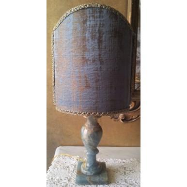 Lampe de Table Vintage en Onyx Bleu avec Abat Jour en Tissu Jacquard Rubelli Venier Bleu Aqua et Or