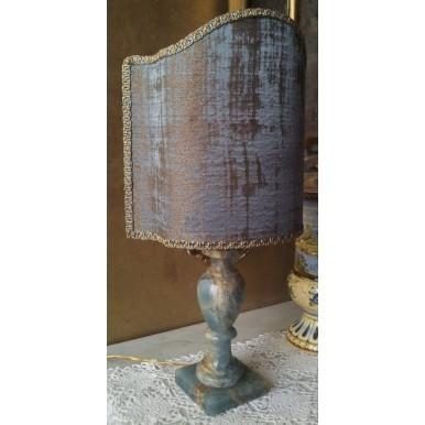 Lampada da Tavolo Vintage in Onice Blu con Paralume in Tessuto Rubelli Venier Azzurro e Oro