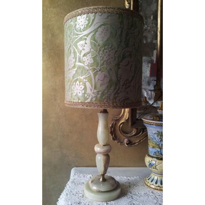 Lampada da Tavolo Vintage in Onice con Paralume Clindrico in Tessuto Fortuny Persepolis Verde e Oro