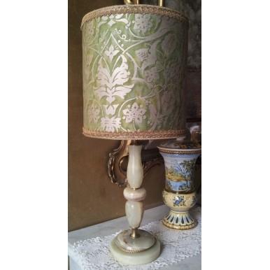 Lampada Da Tavolo Vintage In Onice Con Paralume Clindrico In