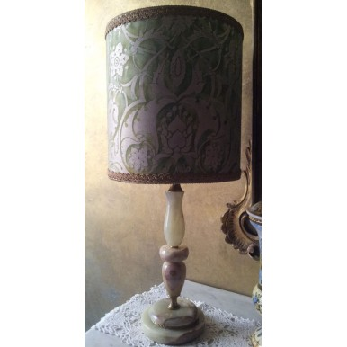 Vintage Onyx Table Lamp with Green and Gold Fortuny Fabric Persepolis Pattern Drum Lamp Shade