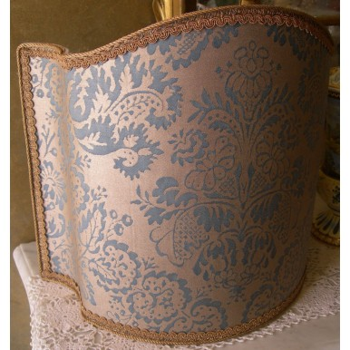 Venetian Lamp Shade Fortuny Fabric Slate Blue & Silvery Gold Half Lampshade
