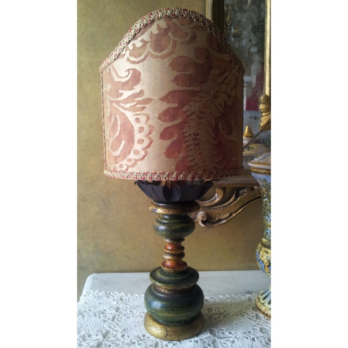 Antique Green and Gold Turned Wooden Table Lamp with Fortuny Fabric Clip On Lamp Shade