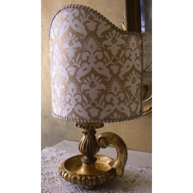 Antique Italian Gilt Carved Wood Candlestick Table Lamp with Ivory & Gold Fortuny Clip On Lamp Shade