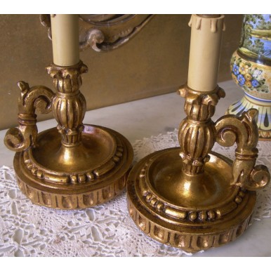 Pair of Antique Italian Gilt Carved Wood Candlestick Table Lamps with Slate Blue & Gold Fortuny Fabric Clip On Lamp Shades
