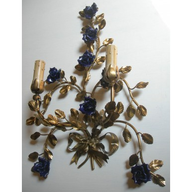 Pair of Antique Italian Gilded Tole Blue Porcelain Flowers Wall Sconces with Fortuny Fabric Clip On Lampshades