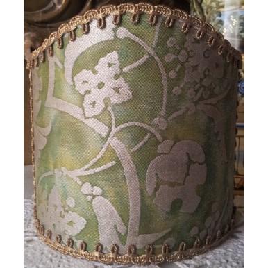 Abat Jour à Pince pour Applique Fait Main Tissu Fortuny Persepolis Vert et Or