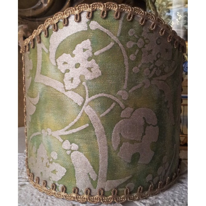 Wall Sconce Clip-On Shield Shade Fortuny Fabric Persepolis in Green and Gold Half Lampshade