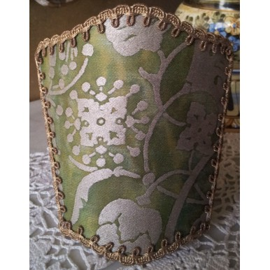 Wall Sconce Venetian Clip On Shield Shade Fortuny Fabric Green and Gold Persepolis Pattern Half Lampshade