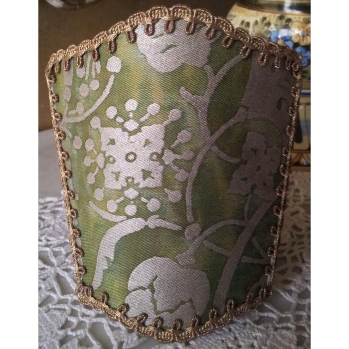 Petit Abat Jour à Pince Fait Main Tissu Fortuny Persepolis Vert et Or