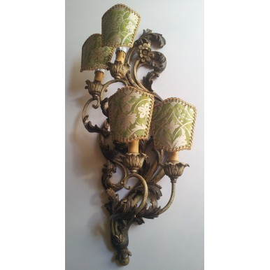 Pair of Antique Italian Polychromed Carved Wood 4 Arms Wall Sconces with Green and Gold Fortuny Fabric Clip On Lamp Shades