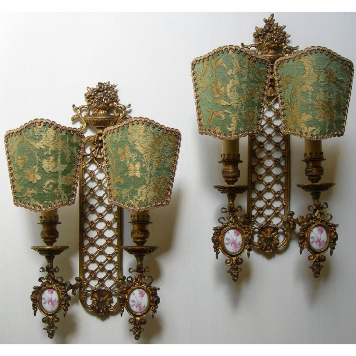 Antique Pair of French Louis XVI Gilt Bronze Porcelain Cameo Wall Sconces with Green and Gold Rubelli Fabric Clip On Lamp Shades