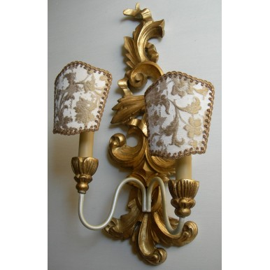 Pair of Antique Italian Carved Gilt Wood Wall Sconces with Ivory and Gold Rubelli Fabric Clip On Lamp Shades