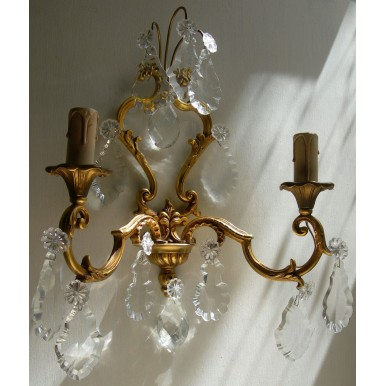 Pair of Antique French Louis XV Gilt Bronze & Crystal Wall Sconces with Plum and Gold Fortuny Fabric Clip On Lamp Shades