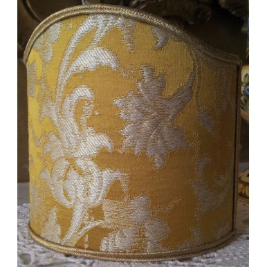 Wall Sconce Clip On Shield Shade Gold Silk Jacquard Rubelli Les Indes Galantes Pattern