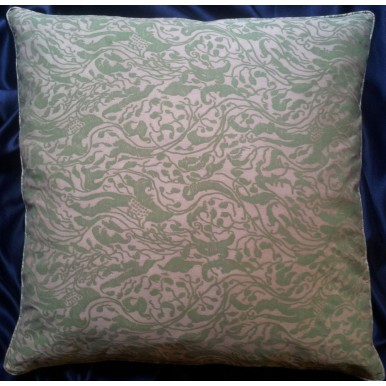 Housse de Coussin Fait Main en Tissu Fortuny Leopardi Rose Antique et Vert Celadon