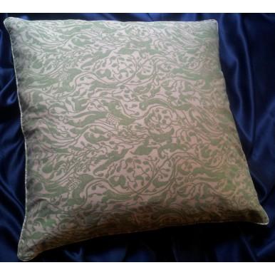 Fodera per Cuscino in Tessuto Fortuny Leopardi Rosa Antico e Verde Celadon