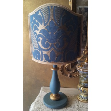 Vintage Blue and Gold Turned Wood Table Lamp with Rubelli Fabric Lamp Shade