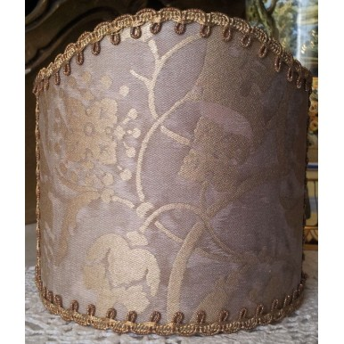 Wall Sconce Clip-On Shield Shade Fortuny Fabric Persepolis in Mushroom & Silvery Gold Half Lampshade