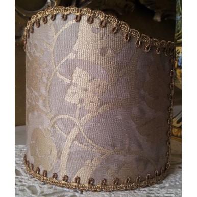 Abat Jour à Pince pour Applique Fait Main Tissu Fortuny Persepolis Gris et Or