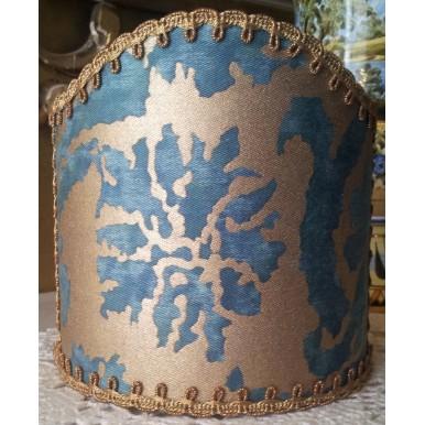 Abat Jour à Pince pour Applique Fait Main Tissu Fortuny Farnese Bleu-Vert et Or