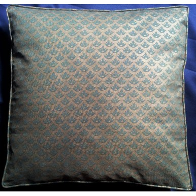Fortuny Fabric Box Edge Throw Pillow Cushion Cover Green & Silvery Gold Canestrelli Pattern