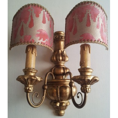 Pair of Antique Italian Carved Gilt Wood Wall Sconces with Red and Gold Fortuny Fabric Clip On Lamp Shades